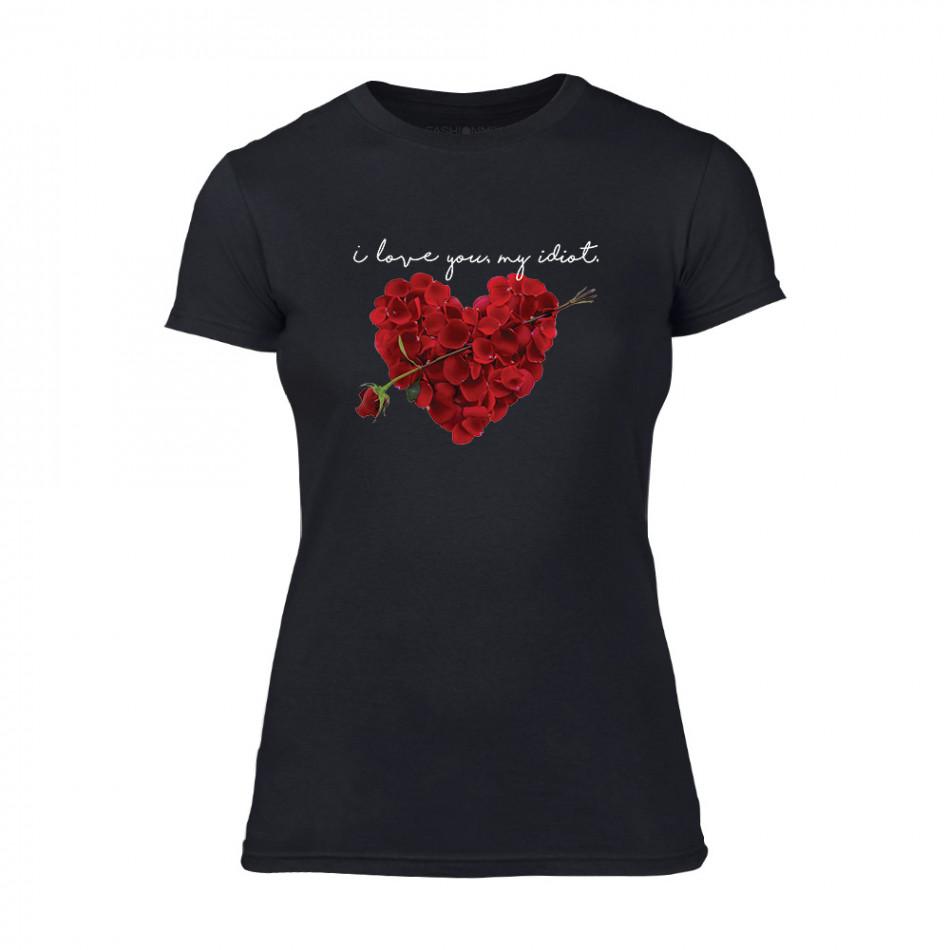 Дамска черна тениска Roseheart TMN-F-052