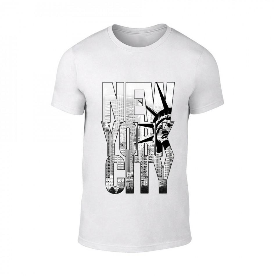 Мъжка бяла тениска New York TMN-M-055