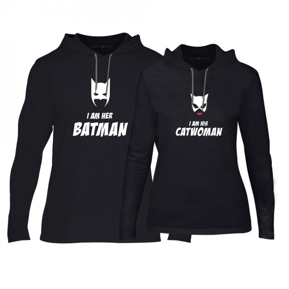 Суичъри за двойки Batman & Catwoman в черно TMN-CPS-049