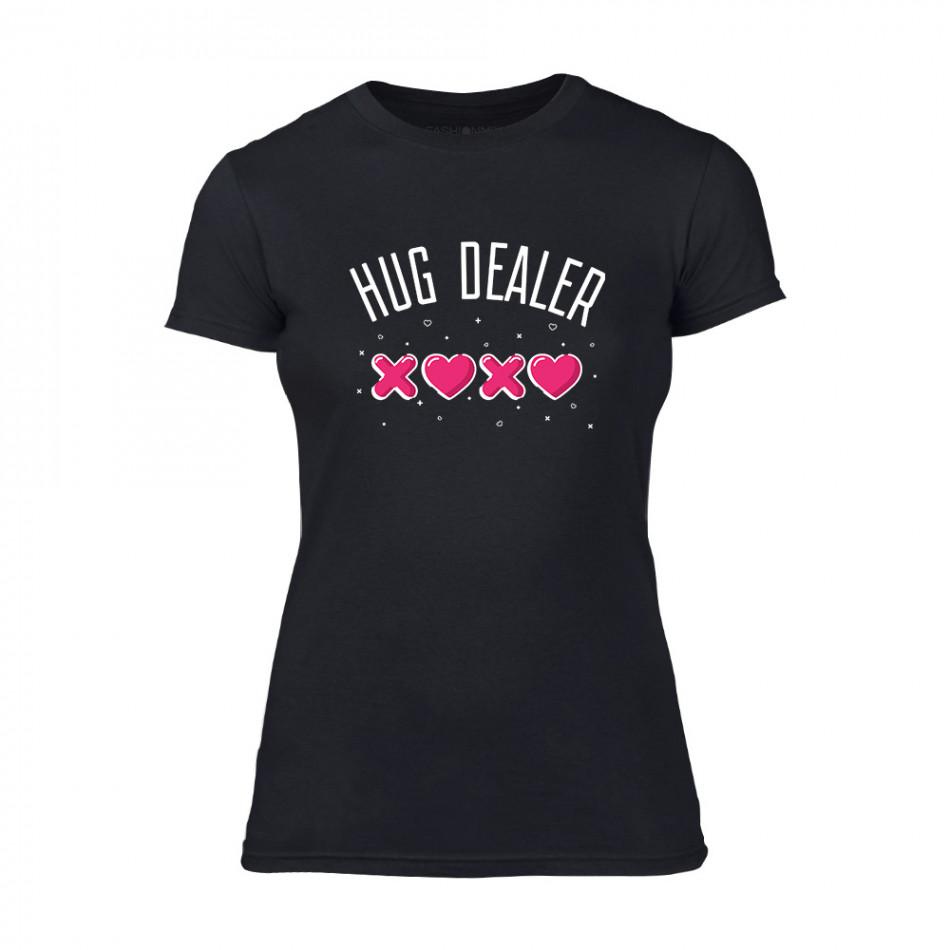 Дамска черна тениска Hug Dealer TMN-F-060