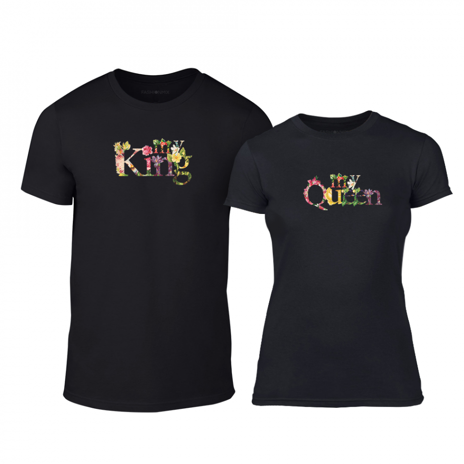 Тениски за двойки My King My Queen черни TMN-CP-222