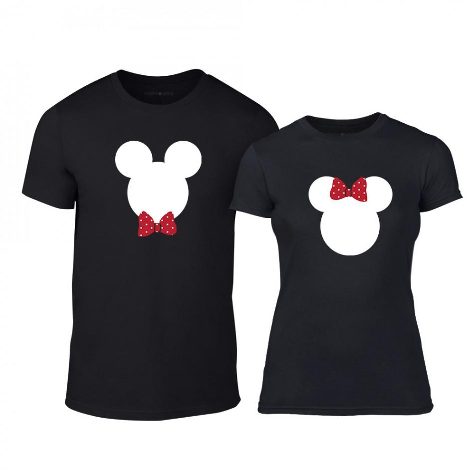 Тениски за двойки Mickey & Minnie черни TMN-CP-029