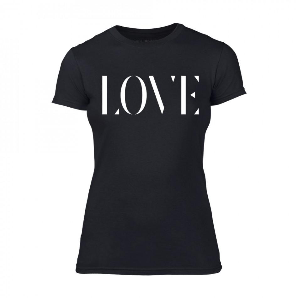 Дамска черна тениска Love TMN-F-026