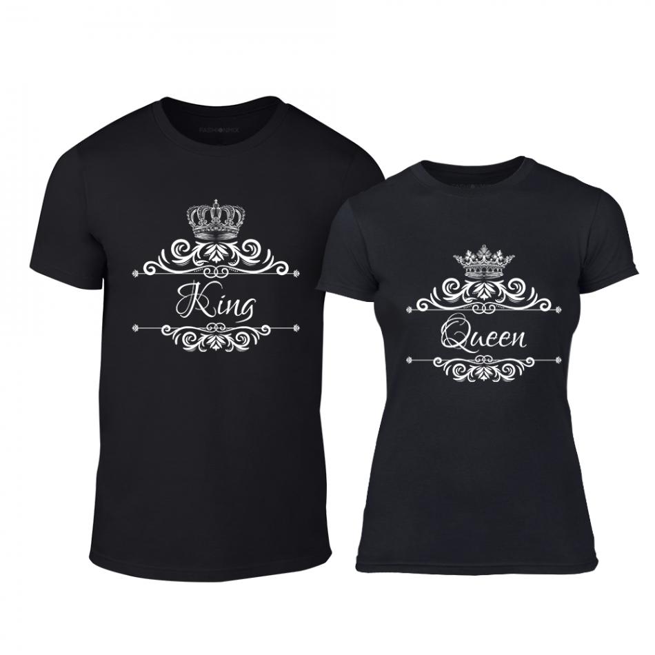 Тениски за двойки Romantic King Queen черни TMN-CP-249
