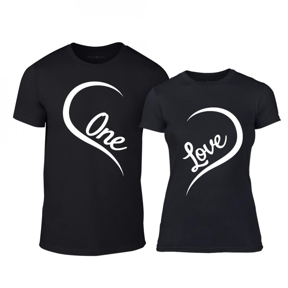 Тениски за двойки One Love черни TMN-CP-243