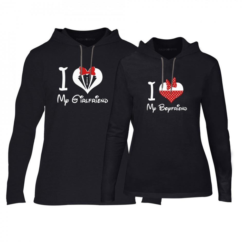 Суичъри за двойки Mickey & Minnie Love в черно TMN-CPS-154