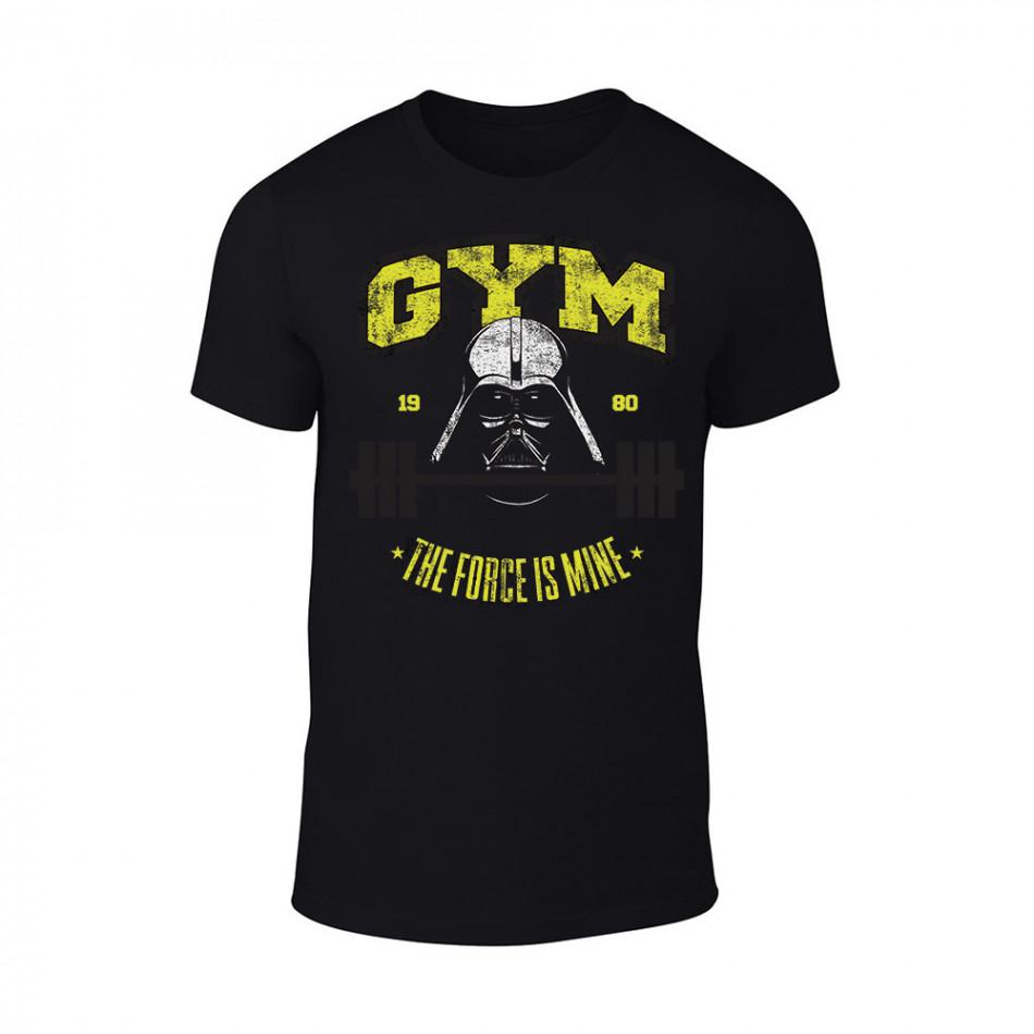 Мъжка черна тениска Gym TMN-M-058