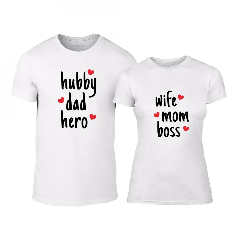 Тениски за двойки Hero & Boss бели TMN-CP-240