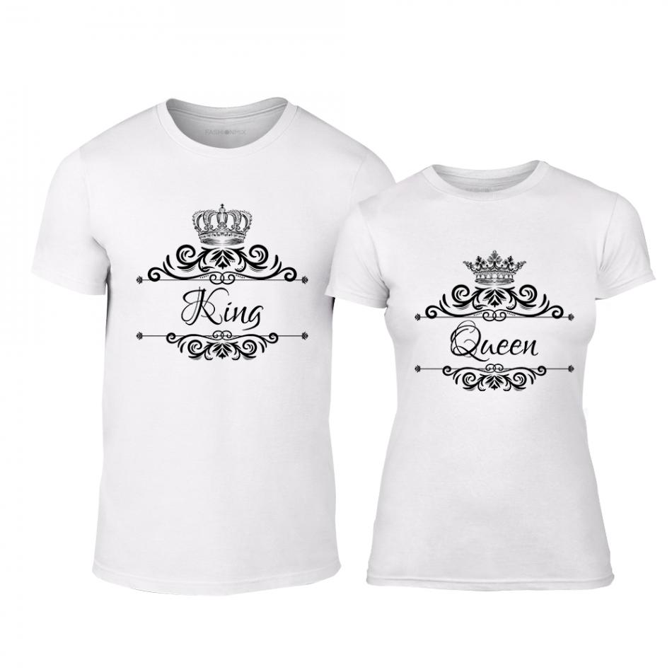 Тениски за двойки Romantic King Queen бели TMN-CP-248