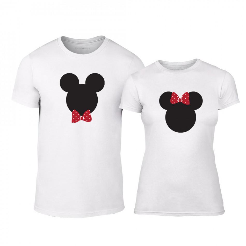 Тениски за двойки Mickey & Minnie бели TMN-CP-028