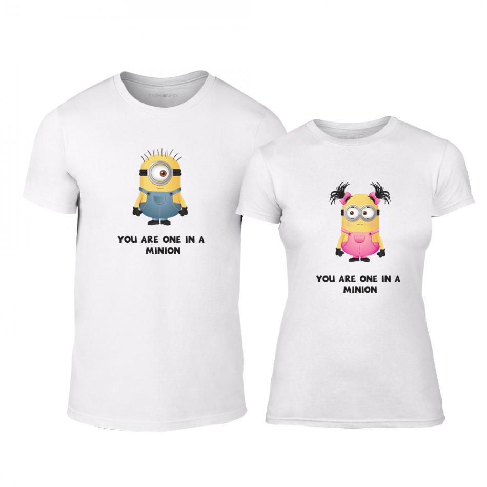 Тениски за двойки One in a Minion бели TMN-CP-229