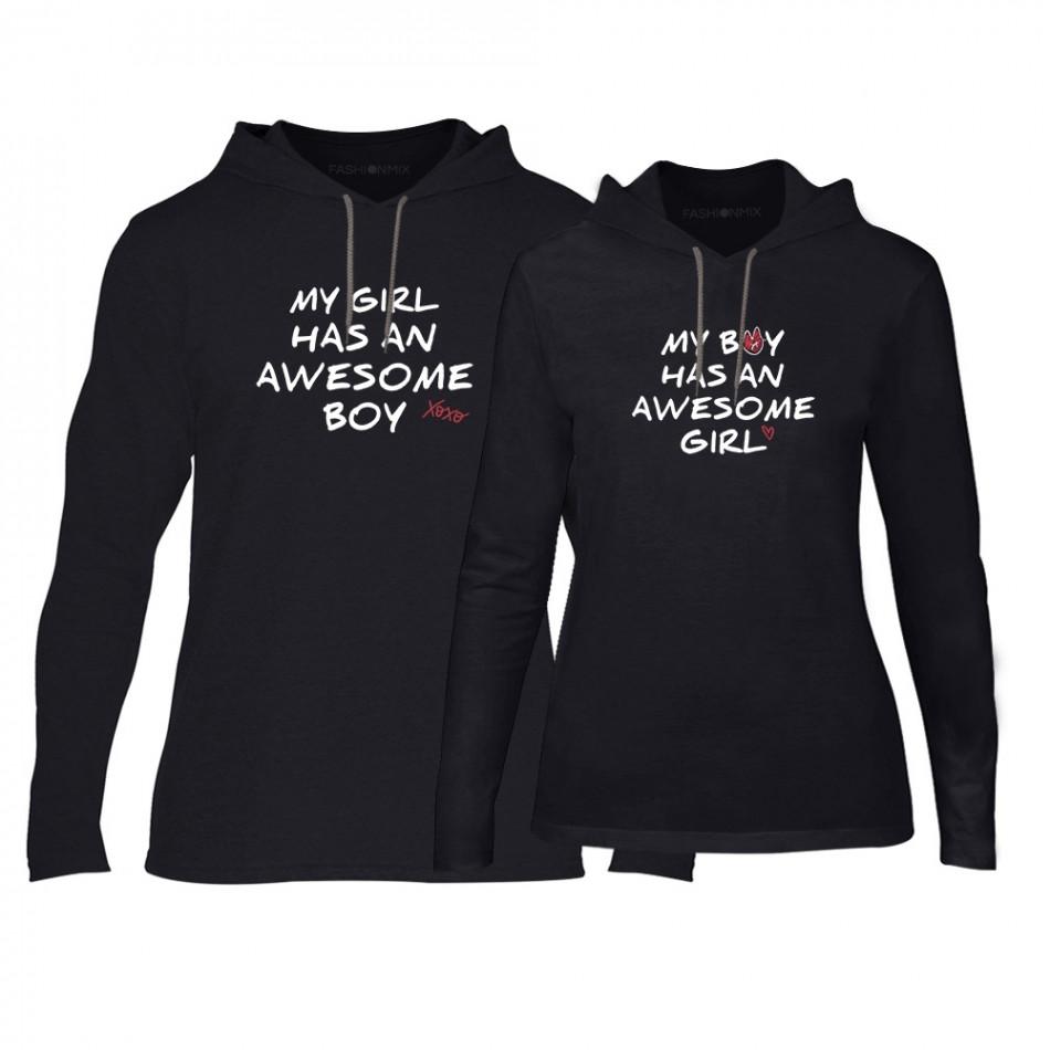 Суичъри за двойки The Awesome Boy & Girl в черно TMN-CPS-067
