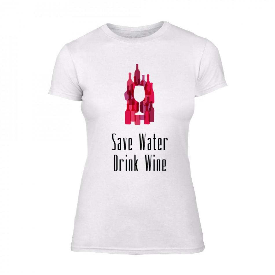 Дамска бяла тениска Save Water Drink Wine TMN-F-075