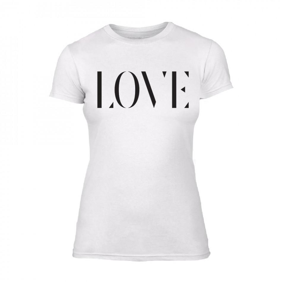 Дамска бяла тениска Love TMN-F-025