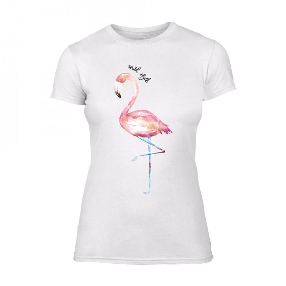 Дамска бяла тениска Flamingo TMN-F-009