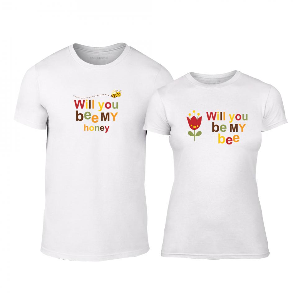 Тениски за двойки Bee & Honey бели TMN-CP-231
