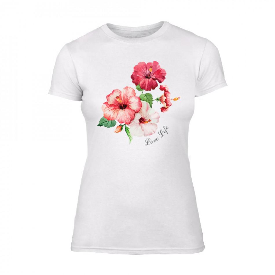 Дамска бяла тениска Flowers TMN-F-005