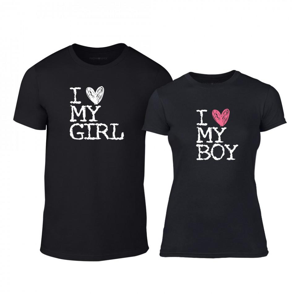 Тениски за двойки Love My Girl Love My Boy черни TMN-CP-027