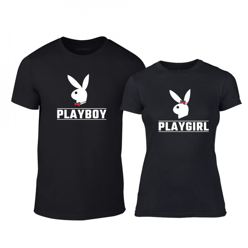 Тениски за двойки Playboy черни TMN-CP-251