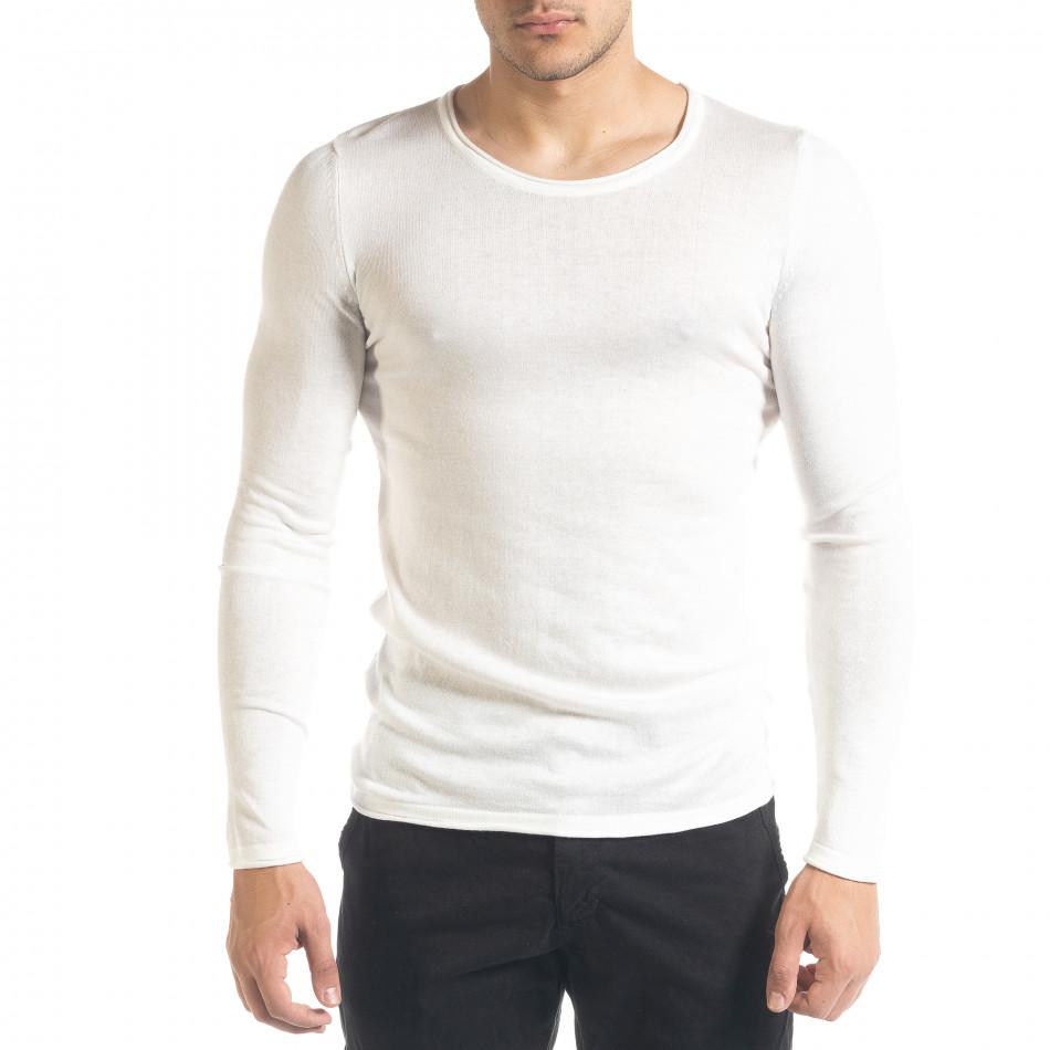 Basic Slim fit мъжка плетена блуза в бяло tr240420-13