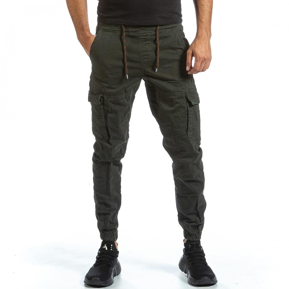 Зелен Cargo Jogger панталон с ластик на кръста tr070921-15
