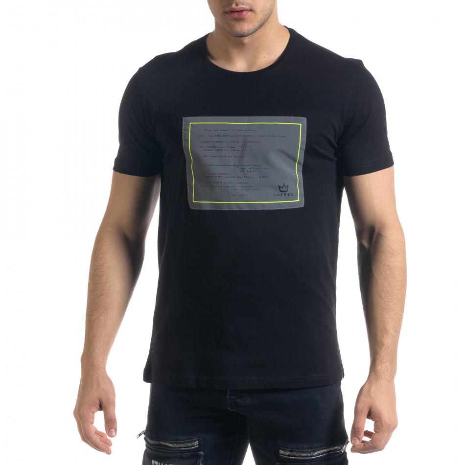 Мъжка черна тениска с апликация tr110320-36
