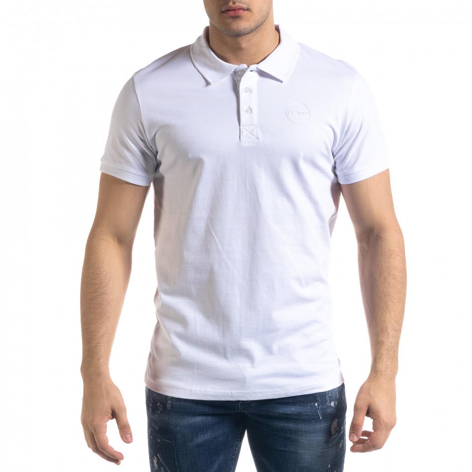 Basic мъжка бяла тениска polo shirt tr110320-72