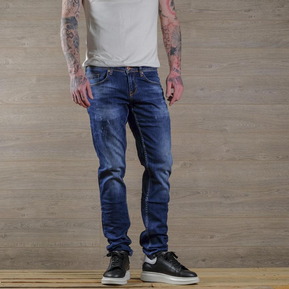 Slim fit мъжки сини дънки с леки прокъсвания tr030420-2