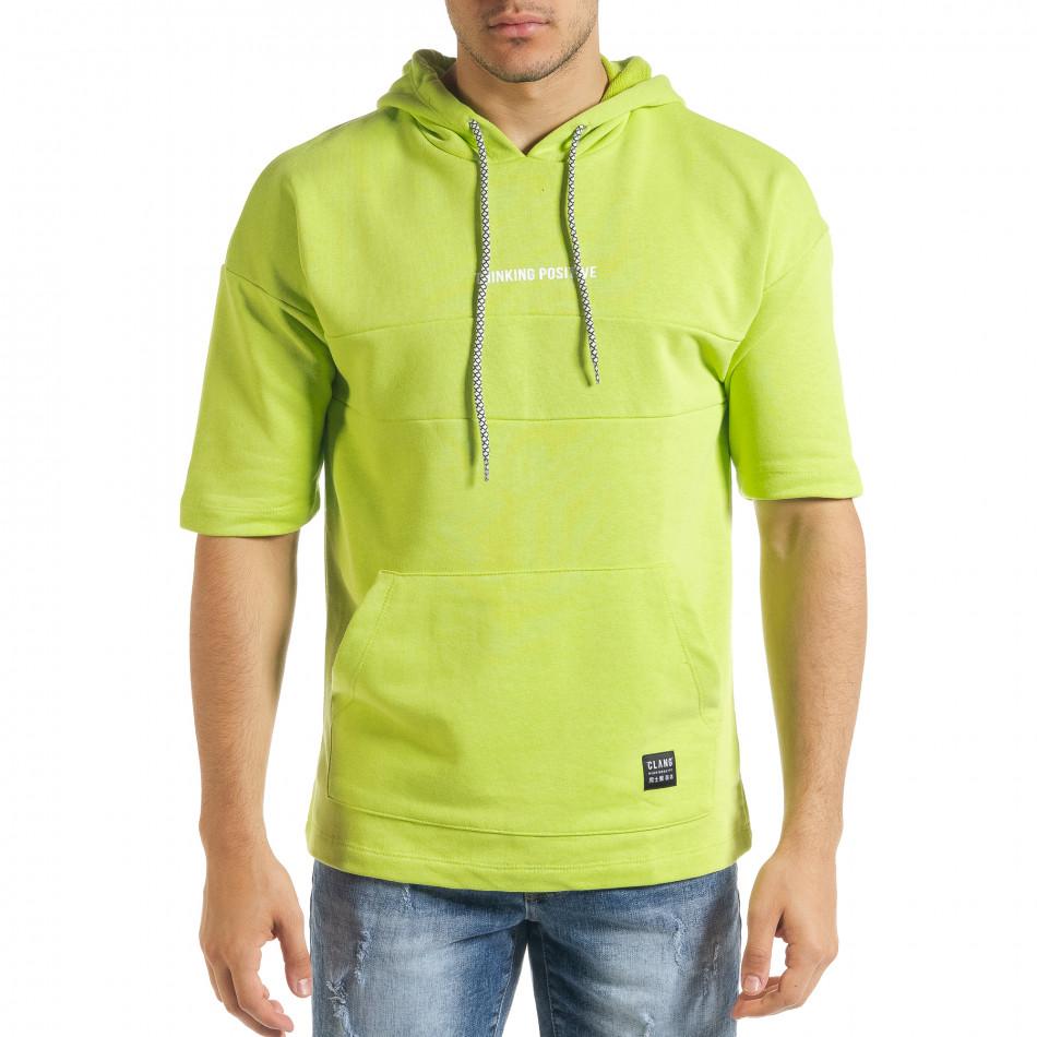 Мъжки суичър с къси ръкави неоново зелено tr080520-76