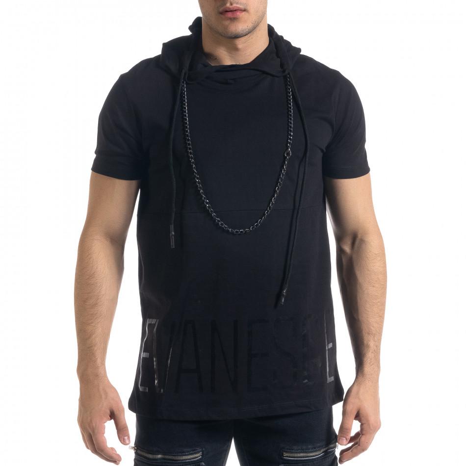 Черна мъжка тениска с качулка tr110320-63