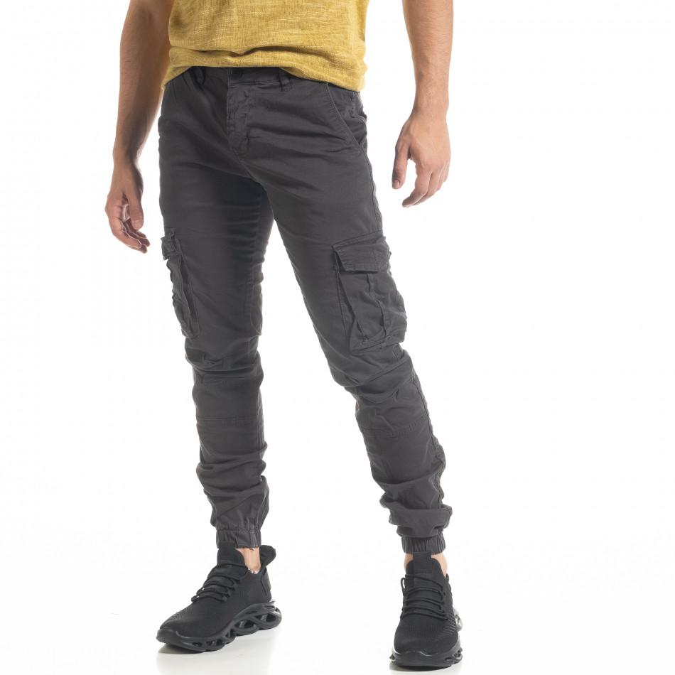 Мъжки сив карго панталон с ластик на крачолите tr240420-31