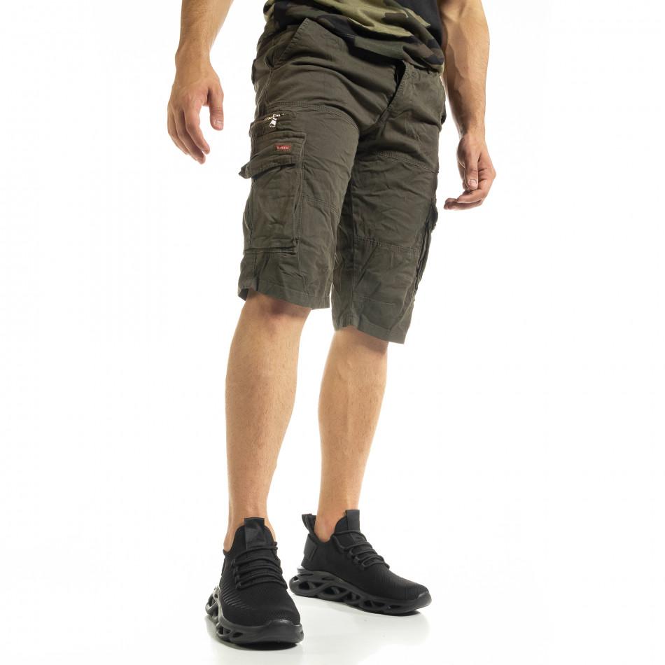 Мъжки зелени къси карго панталони tr140520-12