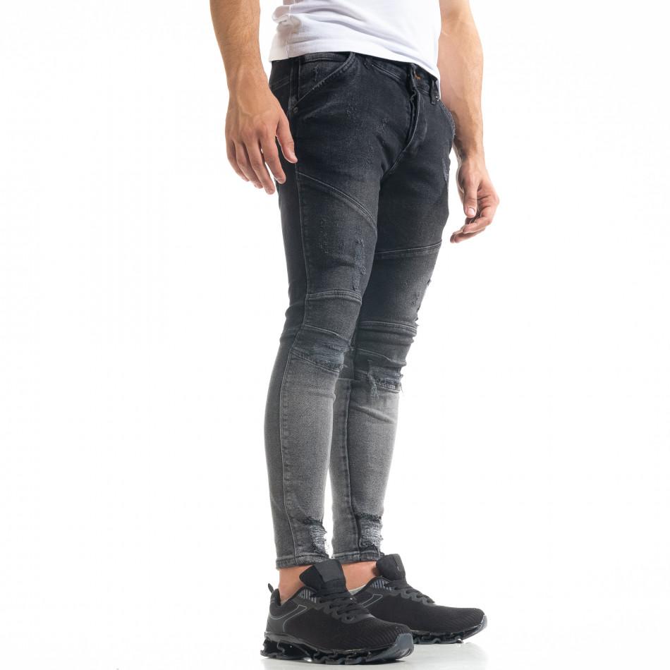 Skinny fit мъжки черни дънки Biker Destroyed tr050620-1