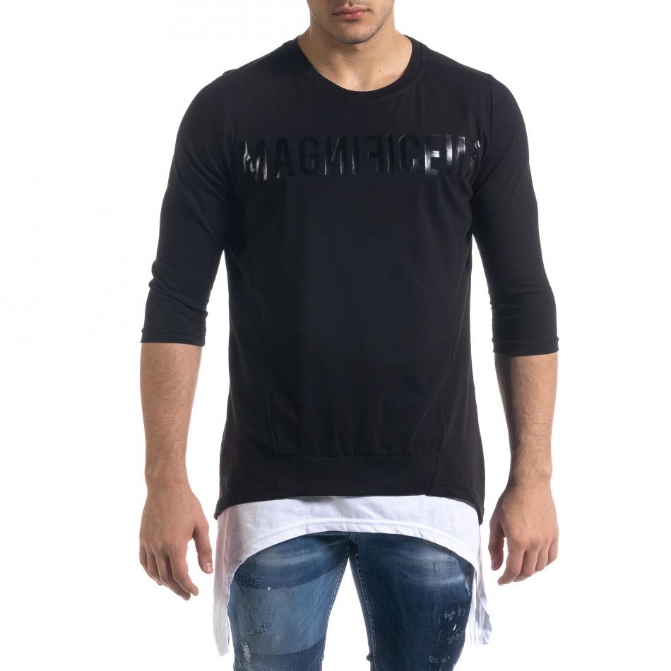 Мъжка черна тениска с удължени краища tr110320-60