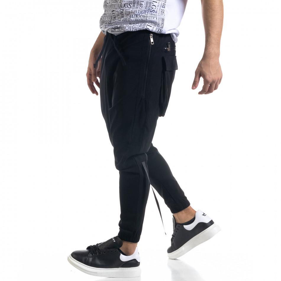 Лек мъжки панталон в черно с акценти tr110320-126