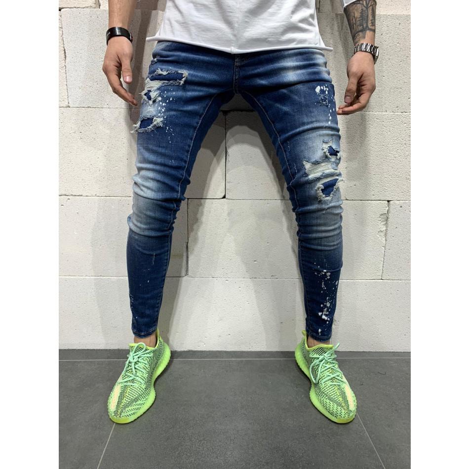 Destroyed Slim fit мъжки сини дънки tr110320-116
