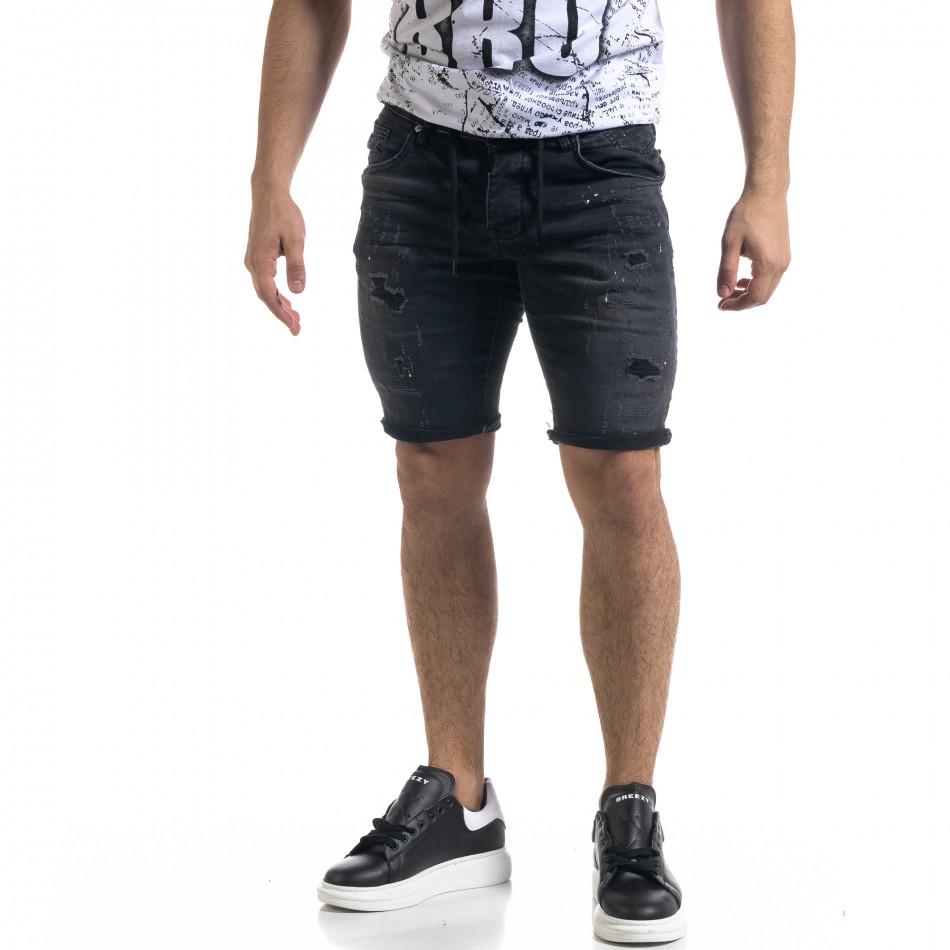 Черни мъжки къси дънки с връзка на кръста tr110320-125