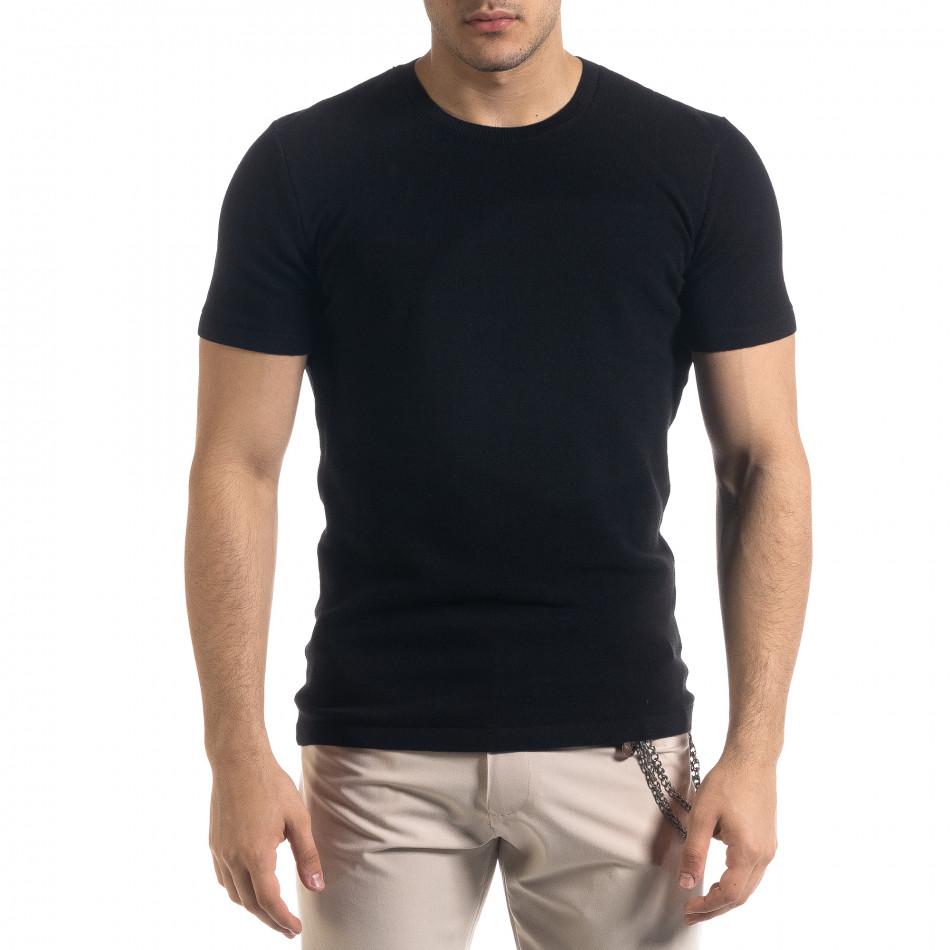 Basic мъжка плетена блуза пике в черно tr110320-58