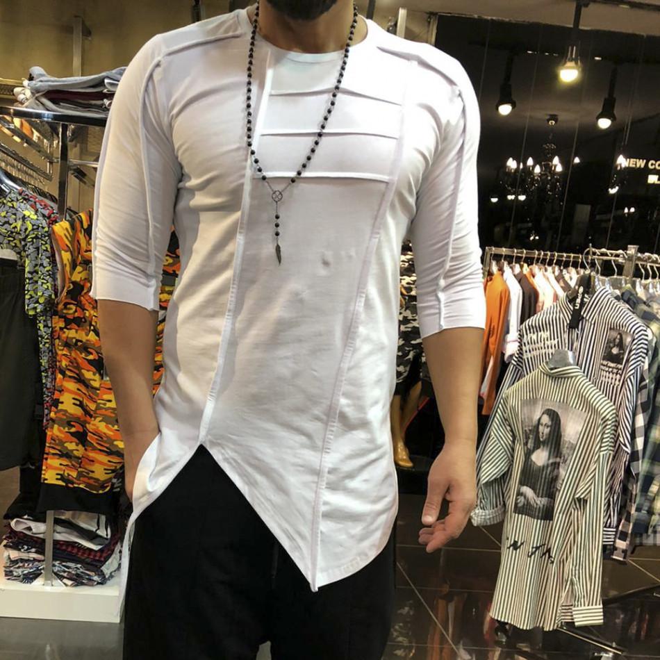 Мъжка асиметрична тениска в бяло tr110320-64