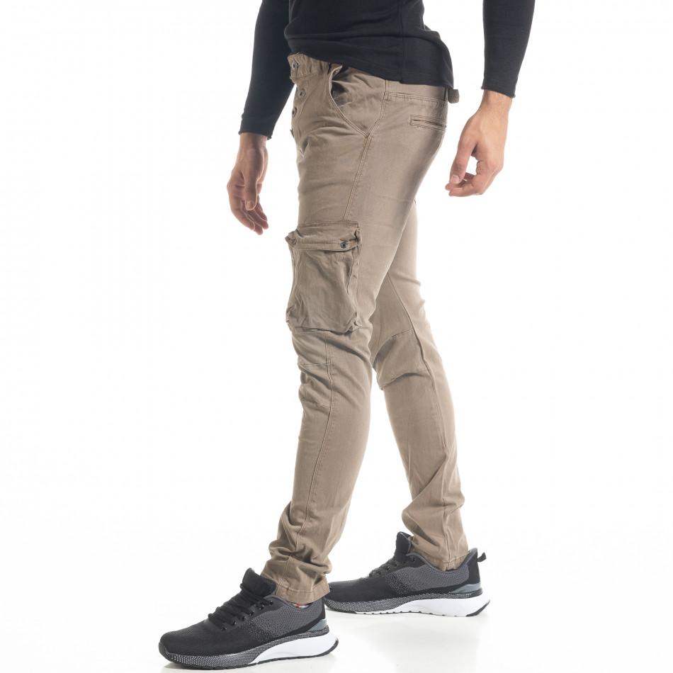 Мъжки карго панталон с прави крачоли цвят каки tr240420-25