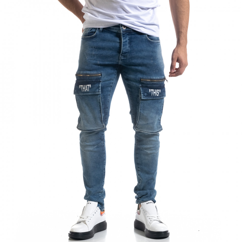 Slim fit мъжки сини дънки с джобове tr110320-115