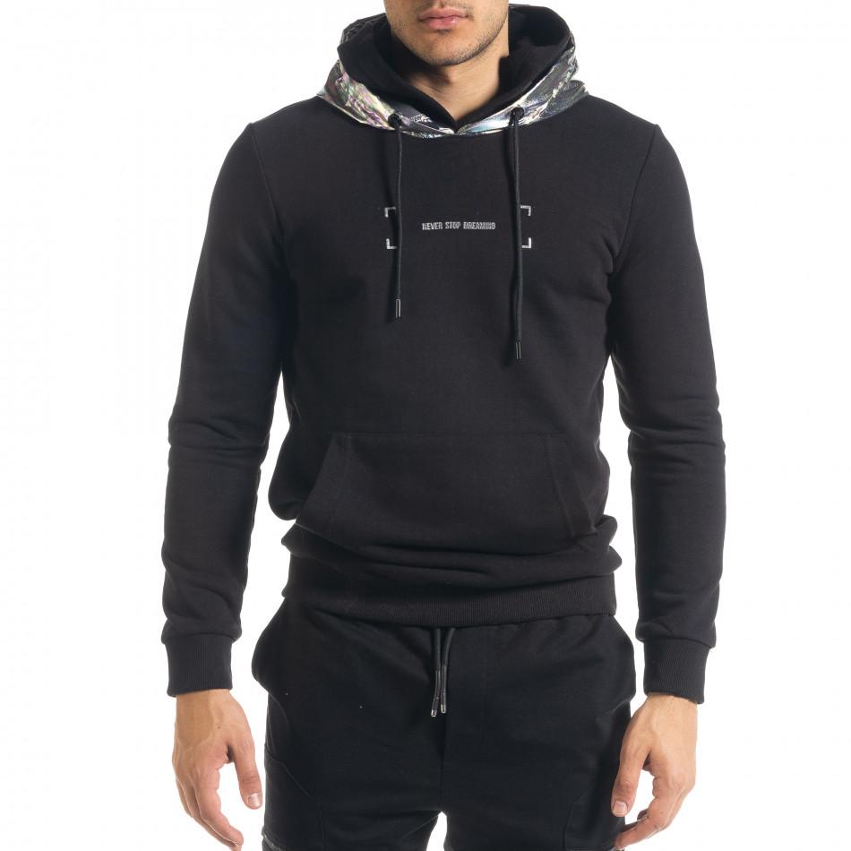 Мъжки черен суичър с лъскава качулка tr240420-16