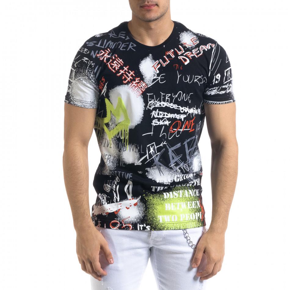 Мъжка черна тениска Graffiti tr110320-50