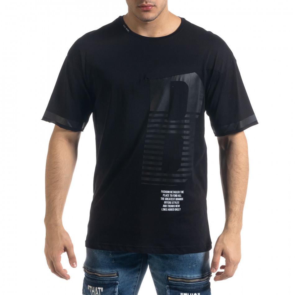 Черна мъжка тениска с принт tr110320-38
