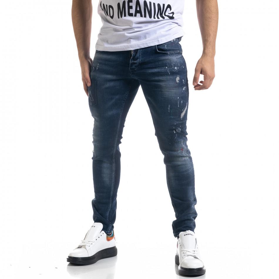 Мъжки сини дънки Slim fit с пръски боя tr110320-109