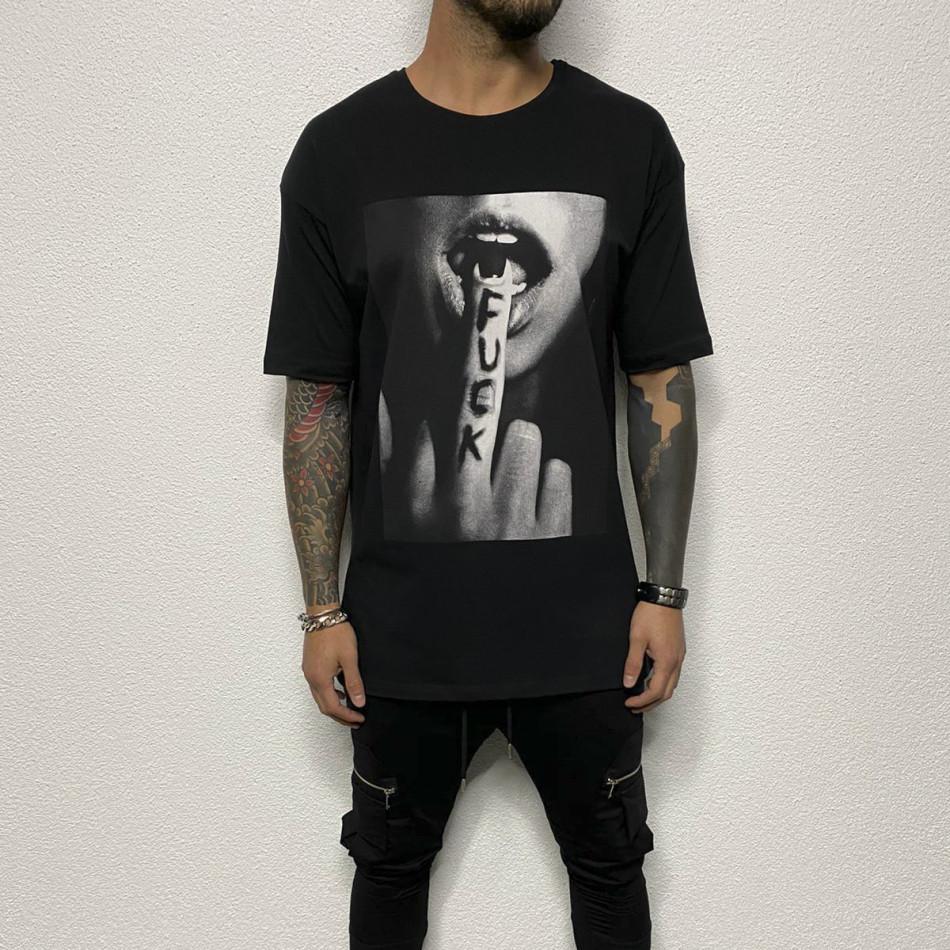 Черна мъжка тениска с принт tr110320-80