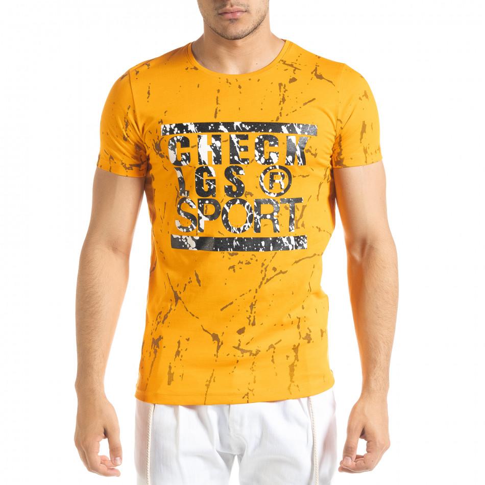Мъжка оранжева тениска с принт Splash tr080520-20