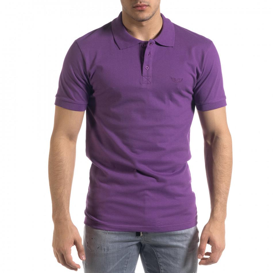 Мъжка тениска пике Polo shirt в лилаво tr110320-16