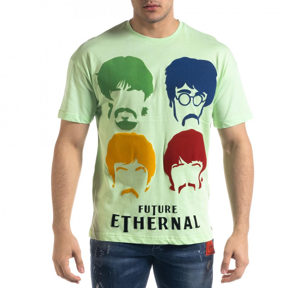 Мъжка зелена тениска The Beatles Oversize tr110320-4