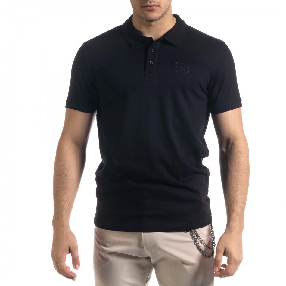Basic мъжка черна тениска polo shirt tr110320-73